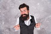 I Choose Happiness. Happy Hipster Smile On Abstract Wall. Bearded Man With Long Beard And Big Smile. poster