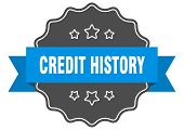 Credit History Blue Label. Credit History Isolated Seal. Credit History poster
