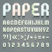 image of arabic numerals  - Alphabet folded of toilet green paper - JPG