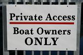 Boat Owners Only Sign poster