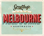 Vintage Touristic Greeting Card - Melbourne, Australia - Vector EPS10. Grunge effects can be easily