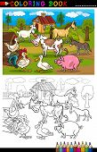 Cartoon Farm And Livestock Animals For Coloring