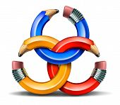 stock photo of collaboration  - Creative partnership and collaborating ideas together as a connected business group network of curved pencil rings as a concept of team thinking and finding solutions for success - JPG