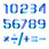 image of arabic numerals  - Spectral numbers folded of paper blue ribbon  - JPG