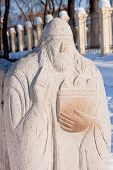 picture of perm  - sculpture of old man in a winter park city Perm Russia - JPG