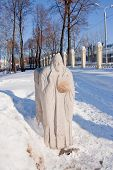 stock photo of perm  - sculpture of old man in a winter park city Perm Russia - JPG