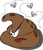 picture of turds  - Cartoonish stylized character depicting bullshit with an angry expression representing something absurd - JPG
