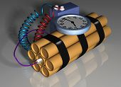 image of time-bomb  - Illustration of a time bomb primed and ready for action - JPG