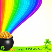 image of triskele  - Magic leprechauns pot with gold and clovers under the rainbow - JPG
