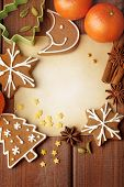 stock photo of christmas spices  - Blank note for recipes of christmas cookies or christmas greeting card - JPG