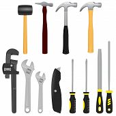 stock photo of adjustable-spanner  - A realistic vector illustration of a collection of 12 various tools including Hammers - JPG