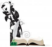 Book, Feather And Floral Silhouettes