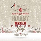 pic of seasons greetings  - Christmas lettering  greetings against a winter holidays landscape with snow - JPG