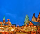 FRANKFURT -  DECEMBER 19 2012: Traditional christmas market in the historic center of Frankfurt, Ger