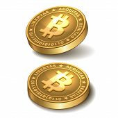 image of bitcoin  - Bitcoins money isolated on white - JPG