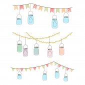 stock photo of mason  - Vector Set of Hanging Glass Jar Lights and Bunting - JPG