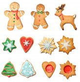stock photo of ginger man  - Christmas gingerbread cookies collection set isolated on white - JPG