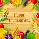 stock photo of fruit platter  - illustration of Happy Thanksgiving background with fruit and vegetable frame - JPG
