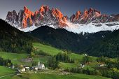 stock photo of italian alps  - Santa Maddalena village in front of the Geisler or Odle Dolomites Group - JPG