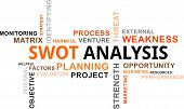 stock photo of swot analysis  - A word cloud of swot analysis related items - JPG