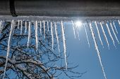 foto of icicle  - icicles on blue sky background - JPG