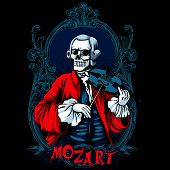 stock photo of skeleton  - Mozart classic music skeleton t - JPG