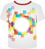 T Shirt Template- colorful pixels