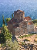 Old orthodox church in Ohrid, Macedonia next to Ohrid lake poster