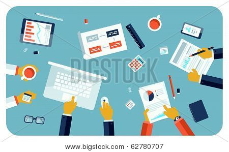 Business Meeting Flat Illustration Concept poster