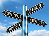 stock photo of morals  - Respect Ethics Honest Integrity Signpost Meaning Good Qualities - JPG