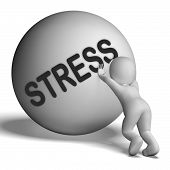 Stress Uphill Character Shows Tension And Pressure