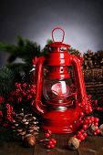 picture of kerosene lamp  - Red kerosene lamp on dark background - JPG