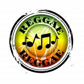 image of reggae  - stamp Reggae Music with music notes in colour - JPG