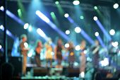 Defocused Concert On Stage Colorful Illuminated