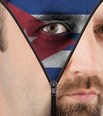 Unzipping Face To Flag Of Cuba