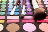 Makeup brushes and makeup eye shadows