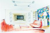 stock photo of interior sketch  - Watercolor sketch of an interior apartment - JPG