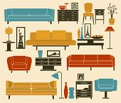 Retro Furniture and Home Accessories, including sofas, love seat, armchairs, coffee table, side tabl
