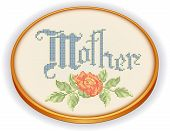 Mother Embroidery, Rose cross stitch needlework, retro wood hoop