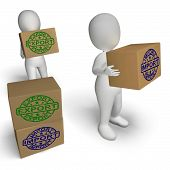 stock photo of export  - Import Export Boxes Showing International Trade Importing And Exporting - JPG
