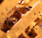 image of wind up clock  - Close up of an internal clock mechanism