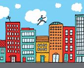 pic of parkour  - Cartoon illustration of a man jumping buildings in an urban skyline - JPG