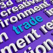 Trade In Word Cloud Shows Online Buying And Selling