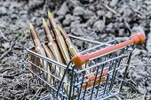 picture of gun shop  - close up of orange chrome shopping cart with bullets on dirty clay - JPG