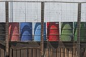 image of klamath  - Multicolored 55 gallon barrels on a old loading dock of a oil bulk plant in Klamath Falls - JPG