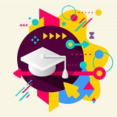 Academic Hat On Abstract Colorful Spotted Background With Different Elements