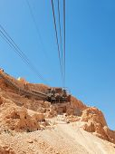 image of masada  - Cable car in fortress Masada Israel - JPG