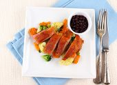 picture of duck breast  - Roasted duck breast with vegetables wild blueberries top view - JPG