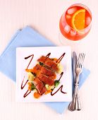 picture of duck breast  - Roasted duck breast vegetables orange aperitif top view - JPG
