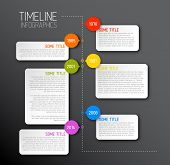 picture of line graph  - Vector dark Infographic timeline report template with icons - JPG